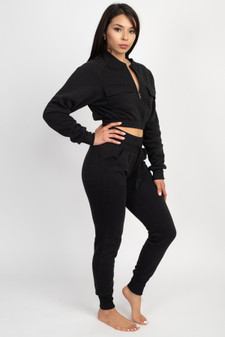 2 PC FULL ZIP CROP HOODY/JOGGER FLEECE SET.