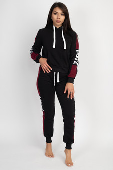 JR 2 PC LOVE COLOR BLOCK PULLOVER HOODY/JOGGER FLEECE SET.