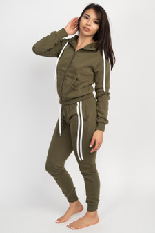 JR 2 PC DOUBLE HALF STRIPE FULL ZIP HOODY/JOGGER FLEECE SET.