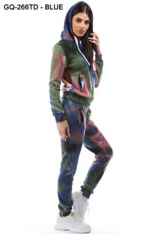 2 PC PULLOVER HOODIE AND HIGH WAISTED JOGGER TIE DYE FLEECE SET.