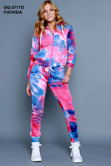 2 PC TIE DYE FLEECE SET. FEATURING FULL ZIP HOODIE AND MATCHING HIGH WAISTED JOGGERS.