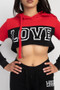 2 PC LOVE COLORBLOCK CROP HOODY/JOGGER SET.