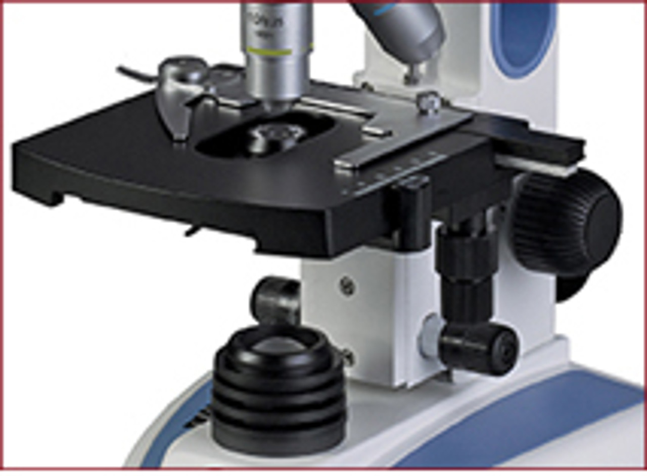 An optional mechanical stage with low position coaxial controls is available on all models. Allowing for precise movement of the slide samples, the low coaxial controls make for easier storage and more comfortable use.