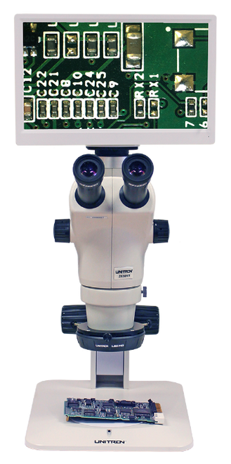The Excelis HDS Camera & Monitor System, Shown on a Z650HR Stereo Microscope