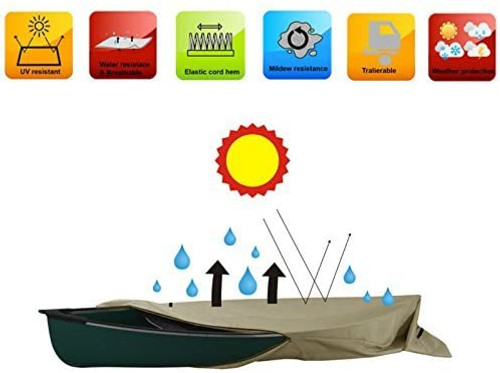 Heavy Duty H2o Canoe Kayak Cover for boats up to 13 Foot Premium Coated 600 D Polyester Small