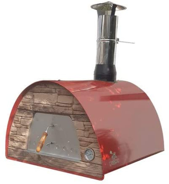 Red Arena Maximus Wood-Fired Oven (Rustic Brick) Includes Free accessories & cover