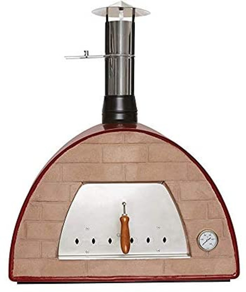 Red Maximus Wood-Fired Oven (Standard  Brick) Includes Free accessories & cover