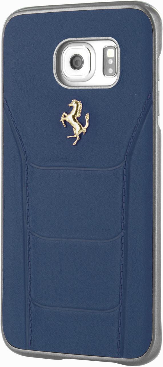 the best attitude a919c 6501a FERRARI 488 - Case for Samsung Note 5 - Genuine Leather - (Blue) GOLD LOGO