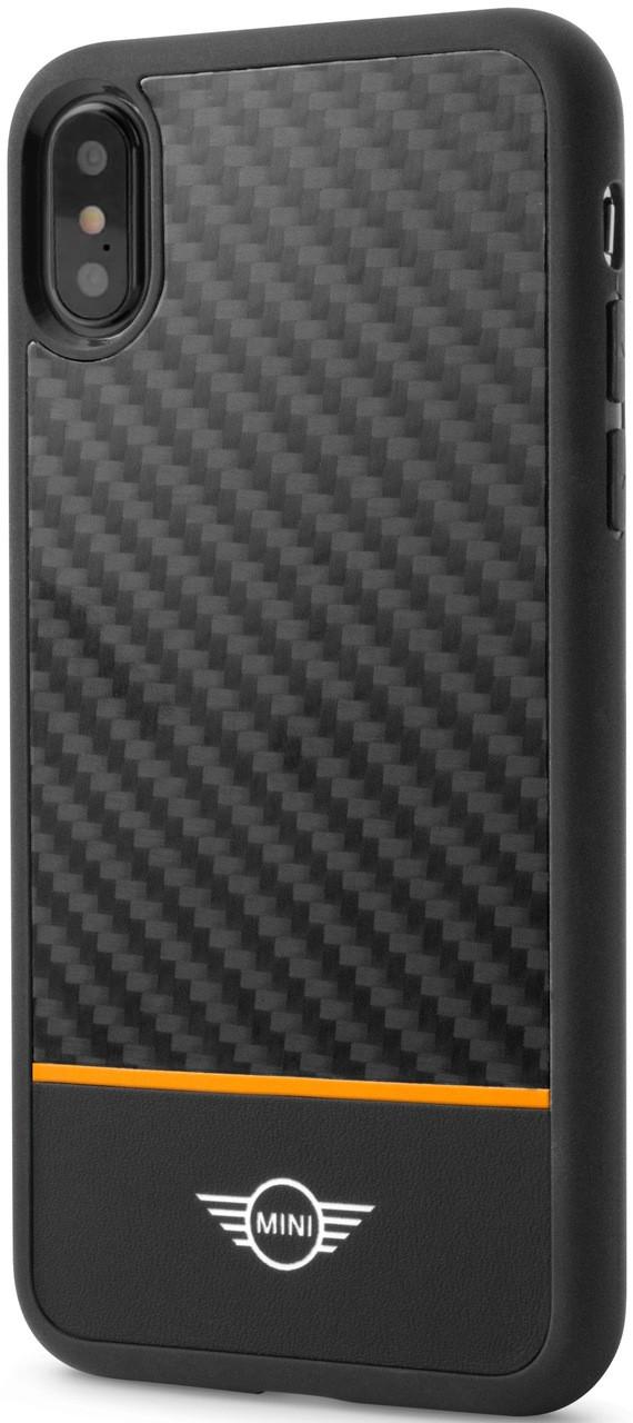 uk availability 82e13 5cc5b Mini, (Mini Cooper), Case for iPhone Xs/X, Real Carbon Fiber & leather -  Orange Stripe