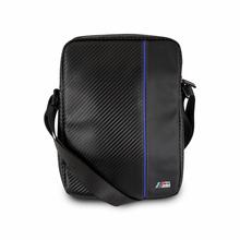 "BMW,  ""M"" ,  Leather Tablet Bag 10""  -  Carbon & Blue stripe"