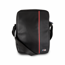 """BMW M Collection -  Leather Tablet Bag 10""""  (Carbon & Red stripe)"""