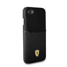 "Ferrari, Case WITH CARD SLOT for iPhone 8/7, Collection ""SF"" , CARBON, BLACK"