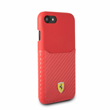 "Ferrari, Case WITH CARD SLOT for iPhone 8/7, Collection ""SF"" , CARBON, Red"