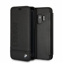 BMW, Book Case for Samsung S9  Logo Imprint , Genuine Leather - Black
