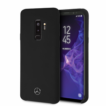 Phone  Case for Samsung S9+, Mercedes, LIQUID SILICONE  With Microfiber Lining,  Black