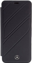 """Book Case for Samsung S9, Mercedes , Collection """"NEW ORGANIC I """",   Genuine Leather,  Navy"""