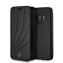 "Mercedes, Book Case for Samsung S9,  Collection ""NEW ORGANIC II "",   Genuine Leather,  Black"