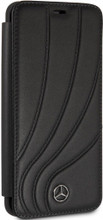"""Book Case for Samsung S9+, Mercedes, Collection """"NEW ORGANIC II """",   Genuine Leather,  Black"""