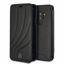 "Mercedes, Book Case for Samsung S9+,  Collection ""NEW ORGANIC II "",   Genuine Leather,  Black"