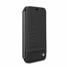 BMW, Book-Case for iPhone Xr,  Logo Imprint , Genuine Leather - Black