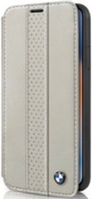BMW , Book-case for iPhone Xr, Perforated Center Stripe, Genuine Leather, Taupe