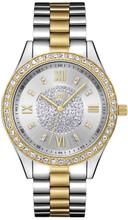 JBW, Mondrian,  Woman Luxury 16 DIAMONDS watch, Silver brushed dial, Two-tone 18k gold plated