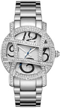 JBW, OLYMPIA,  Woman Luxury diamond watch, 20 DIAMONDS, Silver floral embossed dial