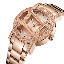 JBW, OLYMPIA 10 YR,  Woman Luxury diamond watch, 20 DIAMONDS, Rose Gold Scalloped fan texture dial