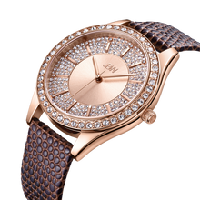 JBW, Mondrian 10 YR,  Woman Luxury 12 DIAMONDS watch, Rose Gold brushed dial with accented Swarovski crystals