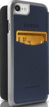 Ferrari 488 - Booktype Case iPhone 8/7 - Blue Genuine Leather - Gold Logo. back view