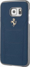 FERRARI - 488 -  Case for Samsung S7 -  Genuine Leather - (  Blue )  GOLD LOGO