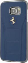 FERRARI - 488 -  Case for Samsung S7 Edge  -  Genuine Leather - ( Blue ) GOLD LOGO