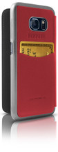 "Booktype, Ferrari ""488"" Collection for Samsumg S7 Edge, Genuine Leather, Red. back view"