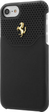 "Ferrari case for iPhone 8/7 ,  collection ""LUSSO""  , Genuine Leather ,   Gold Logo ,  Black"
