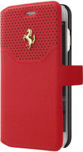 "Ferrari Book type case for iPhone 8/7 ,  collection ""LUSSO""  , Genuine Leather ,   Gold Logo ,  Red"