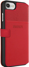 "Ferrari Book type case for iPhone 8/7 ,  collection ""LUSSO""  , Genuine Leather ,   Gold Logo ,  Red. back view"