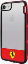 "Ferrari , SHOCKPROOF  Case case for iPhone 8/7  , collection "" Racing Shield "",  Bi-Material ,   Stripe & Red"