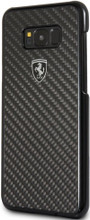 """Ferrari Phone Case for  Samsung Galaxy S8 Plus, collection """"Heritage"""", Real Carbon , Black"""