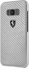 """Ferrari Case for Samsung Galaxy S8, Collection """"Heritage"""", Real Carbon, Silver"""