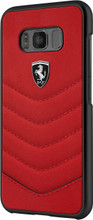 """Ferrari Case for Samsung Galaxy S8 Plus , collection """"Heritage"""", Genuine leather Quilted, Red"""