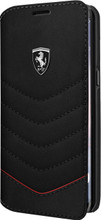 """Ferrari Book Case for Samsung Galaxy S8 Plus, collection """"Heritage"""", Genuine Leather, Quilted , Black"""