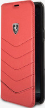 """Ferrari Book Case for Samsung Galaxy S8 Plus, Collection """"Heritage"""", Genuine Leather, Quilted , Red"""