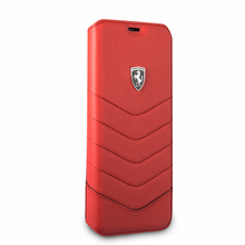 "Ferrari Book Case for Samsung Galaxy S8 Plus, Collection ""Heritage"", Genuine Leather, Quilted , Red"