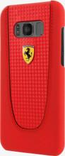 "Ferrari Case for  Samsung S8 , collection "" Pit Stop "" , Black Trim , Red Carbon"