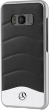 """Case for  Galaxy S8,  Mercedes-Benz, Collection """" Wave III """",  Genuine Leather & Brushed Aluminium ,Black"""