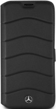 """Book Case for Galaxy S8 Plus, Mercedes-Benz, Collection """"Wave VII """", Genuine Leather, Black"""
