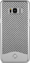 """Mercedes-Benz , Phone Case for Galaxy S8 Plus, Collection """"Wave V"""", Carbon Fiber & Brushed Aluminium ,  Silver"""