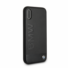 BMW Case for iPhone Xs/X - Genuine Leather & Sand Blasted Aluminum Plate, Black