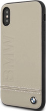 BMW, Case for iPhone Xs/X,  Logo Imprint , Genuine Leather - Taupe