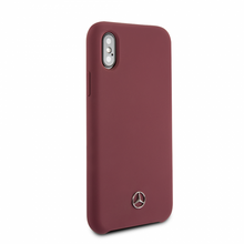 Mercedes , Case for iPhone Xs/X, LIQUID SILICON  with microfiber lining, Red